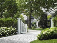 pretty front gates landscap, houses, driveways, gardens, front gate, driveway entrance, hydrangea, gates, driveway gate