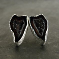 earrings - Black and Grey Geode Druzy Studs in Sterling Silver via Etsy.