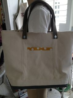 canvas tote natural grey leather handles