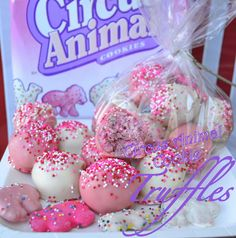 Circus Animal Cookie Truffles- a fun idea for a holiday treat for a teacher, neighbor, co-worker, etc.
