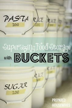 Great article on long-term food storage in 5 gal buckets.  Charts on how much of a food fits into a bucket vs 10-lb can.