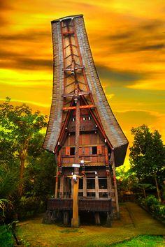 Toraja Architecture from Sulawesi Island in Indonesia