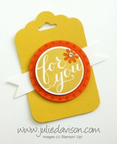 Stampin' Up! Hostess Hello There Gift Tags with Scallop Tag Topper Punch #stampinup www.juliedavison.com