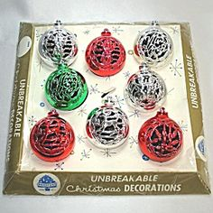 Boxed Set 1950s Bradford Cutout Filigree Plastic Christmas Ornaments