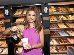 This morning at the new Dunkin Donuts restaurant in Santa Monica, Host of E!'s 'Untold' and Live from E! and former Dunkin Donuts employee, Maria Menounos, returned behind the counter for the ceremonial first pour of the new Dark Roast Coffee