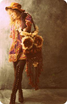 "Vintage Retro 60s Look ""I Got My Eye On You"" Made to Order OOAK Handmade Macrame Hippie Woodstock Owl Handbag Purse Bag"