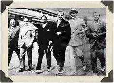 "Meyer Lansky, Al Capone, Enoch ""Nucky"" Johnson and friends walking the boards, Atlantic City. April, 1929 [800 x 580]"