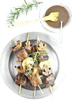 Grilled Balsamic Steak and Mushroom Kebabs