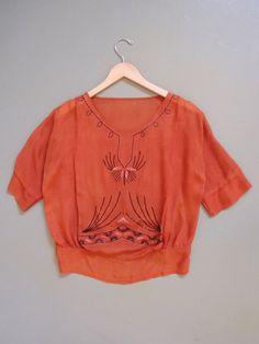 Vintage 1920 Art deco silk blouse