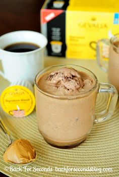 Frozen Peanut Butter Mocha's - INCREDIBLE! http://backforsecondsblog.com #recipe #frappuccino #peanutbutter #chocolate