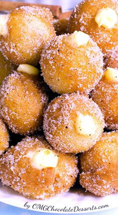 Simple, homemade snickerdoodle poppers with creamy vanilla-white chocolate filling