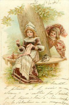 *Vintage Postcard 1901 / Couple in Old Style Dress / France / Frances Brundage*