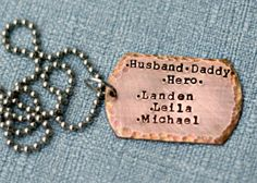 Hand Stamped Mens Dog Tag Necklace Hand by 3LittlePixiesShoppe, $38.00