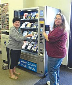 """3/2012 -- """"Meet 'Laverne'! That's what the folks at the Sam Fore Jr. Wilson County [TX] Public Library call the newest innovation in book-lending technology. This is a vending machine for books -- think of it as a """"RedBox"""" for books -- located at Lifechek Drug in La Vernia. It is the first machine of its type in Texas! Only California and Florida have these, so Texas is third in the nation to have this machine."""""""