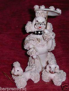 Vtg Mother Poodle & Puppy Figurines Porcelain Ceramic 50s Pink Spaghetti Poodles on eBay.