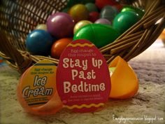 """""""Egg-Changeables"""" -- coupons to fill Easter eggs."""