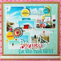 Beach-Time---Layout beaches, beach photos, time american, scrapbook layouts, melissa mann, scrapbook idea, beach time, beach scrapbook, american crafts