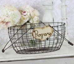 wedding program basket, vintage weddings, basket rustic, card, rustic weddings