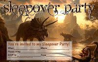 Boys - and girls - who love dinosaurs might like this brilliant sleepober invitation featuring a prehistoric scene - this free sleepover invite is blank so you can fill it with your own personal details including when and where the party is taking place and RSVP details.