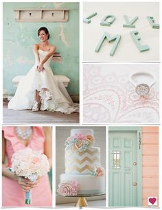 Mint, Pink & Peach Shabby Chic Wedding Inspiration Board-