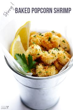 Skinny Baked Popcorn Shrimp Recipe ~ These are perfectly crispy and flavorful just the way they are, and so much more enjoyable when you know that they don't contain tons of unnecessary fat and calories.