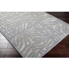 8' x 11' Burchelli Zebra Chain Dove Gray Wool Area Throw Rug