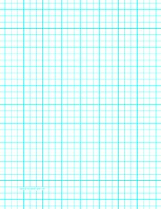 This letter-sized graph paper has three aqua blue lines every inch plus heavy index lines every inch. Free to download and print