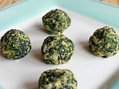 Spinach balls - a veggie alternative to meatballs for spaghetti; also good as appetizers.