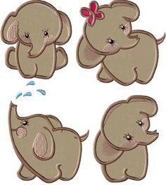 "Elephants Set for 4""x4"" & 5""x7"""