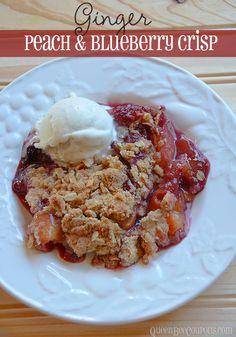 Ginger, peach  Blueberry crisp -- perfect for Summer parites