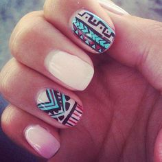 gel nails with aztec print
