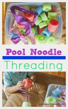 Pool Noodle Threading - Frogs Snails and Puppy Dog Tails for House of Burke - repinned by @PediaStaff – Please Visit ht.ly/63sNtfor all our ped therapy, school & special ed pins