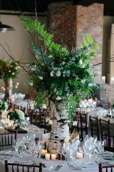 Gorgeous centerpiece at woodland inspired wedding in Brooklyn - Elizabeth Duncan Events and Gulnara Studios | via junebugweddings.com