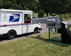 Giant .44 Magnum mailbox.