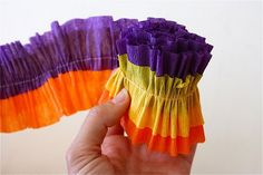 Ruffled Streamers paper garlands, sewing machines, craft, ruffl streamer, room colors, diy tutorial, crepes, crepe paper, parti