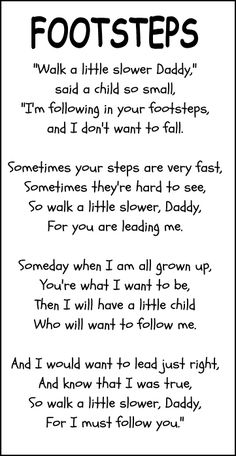 Footsteps father's day poem, love this!