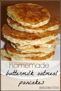 homemade buttermilk oatmeal pancakes