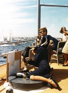 John F. Kennedy and his wife, Jacqueline Kennedy watching The America Cup Races in September 1962. °