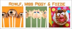 Muppets Miss Piggy, Rowlf and Fozzie Cake Pops, Cupcakes,  Pencil Toppers, Lunchbox Notes and the Muppet Car cupcak, muppet parti, cake pops, parti plan, parti time
