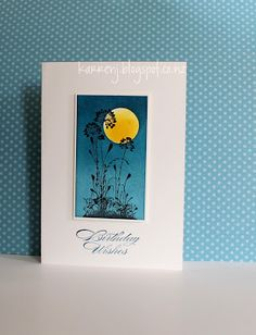 handmade birthday card ... sponged background in deep blues ombre effect and a large yellow sun ... flower from Serene Silhouettes stamped on top ... lovely!! ... Stampin' Up!