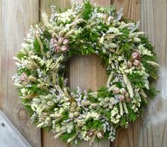 Green and White Dried Flower Wreath by NaturDesign on Etsy, $39.00