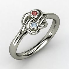 """""""Lover's Knot"""" ring with red garnet & aquamarine :)"""