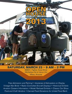 Bring canned food donations to benefit United Food Bank to this #airshow! Then checkout planes, helicopters, war planes, and classic cars! #mesa #tempe #chandler #gilbert #phoenix #scottsdale #AZ #arizona #aviation #classiccars