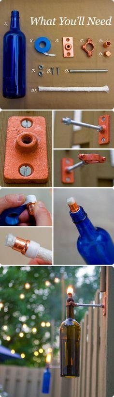 DIY wine bottle tiki torches