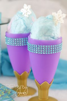 Cotton Candy in Goblets Embellished with Rhinestone - perfect for a Frozen-themed party! #kidsparty #partyfood