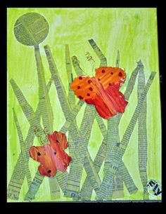 Maybe for Kindergarten- mix blue and yellow paint to make green, paint paper, collage cut strips and arrange vertically for grass, make monoprint butterflies to cut and glue