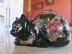 Vintage Japanese Black Cat Lying Down Decorated Flowers and Gold Trim