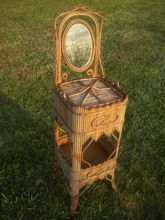 Very Rare Antique Wicker Sewing Stand With Mirror Wakefield Rattan Company Label Circa 1880's