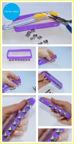 DIY studded cell phone case
