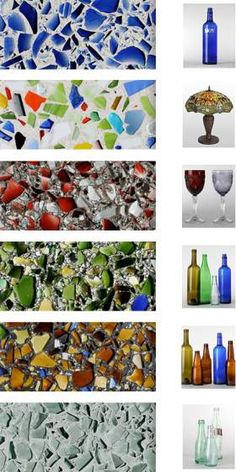 Recycled glass counter tops